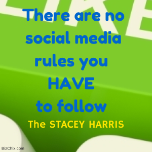 There are no social media rules you HAVE to follow - The Stacey Harris from Episode 105: Reach the Rock Star Status with Stacey Harris - BizChix.com