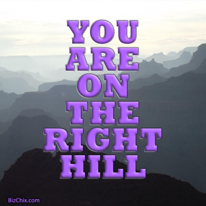 """You are on the right hill."" - BizChix.com"