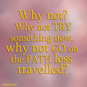 """Why not? Why not try something new, why not go on the path less travelled?"" - BizChix.com"
